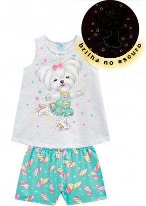 Pijama Infantil Feminino Verão Azul Candy Dog Kyly