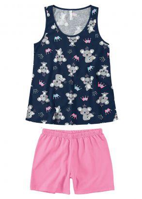 Pijama Infantil Feminino Verão Azul Coala Malwee