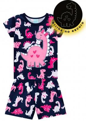 Pijama Infantil Feminino Verão Azul Dino Kyly