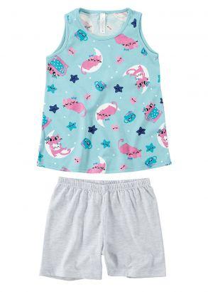 Pijama Infantil Feminino Verão Azul Gatinho Malwee