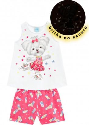 Pijama Infantil Feminino Verão Branco Candy Dog Kyly