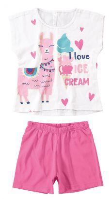 Pijama Infantil Feminino Verão Branco Lhama Malwee
