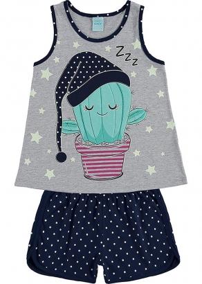 Pijama Infantil Feminino Verão Marinho Cute Cactus - Kyly