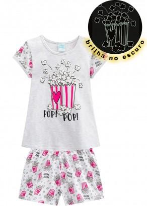 Pijama Infantil Feminino Verão Cinza Popcorn Kyly