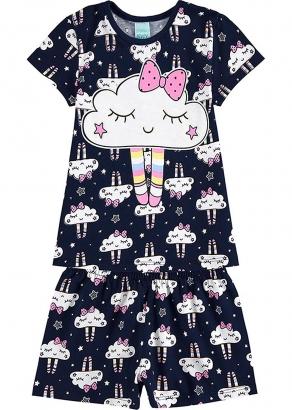 Pijama Infantil Feminino Verão Marinho Cute Cloud - Kyly