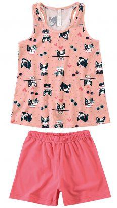 Pijama Infantil Feminino Verão Rosa French Dog Malwee