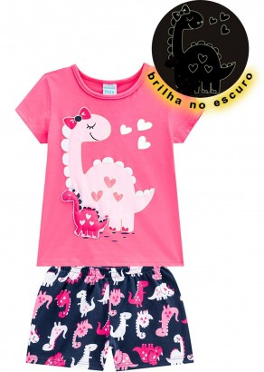Pijama Infantil Feminino Verão Rosa Mom Dino Kyly
