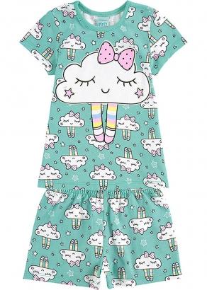 Pijama Infantil Feminino Verão Verde Cute Cloud - Kyly