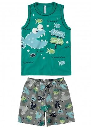 Pijama Infantil Masculino Short e Regata Verde Estampa Peixe - Malwee