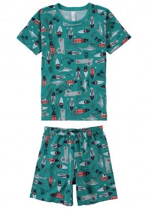 Pijama Infantil Masculino Estampa Foguete Verde - Malwee