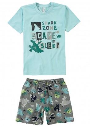 Pijama Infantil Masculino Estampa Brilha no Escuro Verde - Malwee