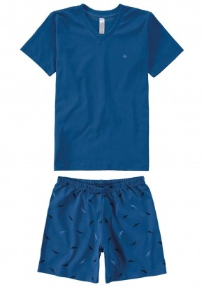 Pijama Infantil Masculino Estampado Azul - Malwee