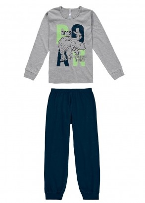Pijama Infantil Masculino Inverno Cinza Dino Malwee
