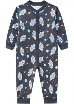 Pijama Infantil Masculino Cinza Estampado Inverno Kyly