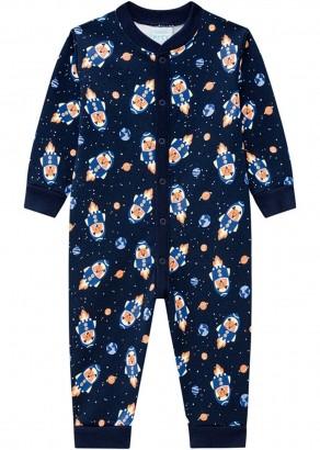 Pijama Infantil Masculino Azul Estampado Inverno Kyly