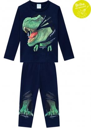 Pijama Infantil Masculino Azul que Brilha no Escuro Inverno Kyly