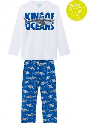 Pijama Infantil Masculino Inverno Brilha no Escuro Branco Kyly
