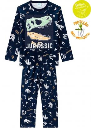 Pijama Infantil Masculino Estampado Azul que Brilha no Escuro Inverno Kyly