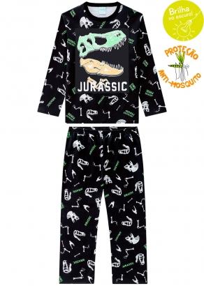 Pijama Infantil Masculino Preto que Brilha no Escuro Inverno  Kyly