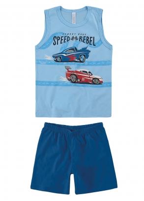 Pijama Infantil Regata e Short Masculino Azul Malwee