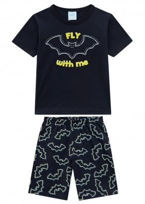 Pijama Infantil Masculino Bat Preto Brilha no Escuro - Kyly
