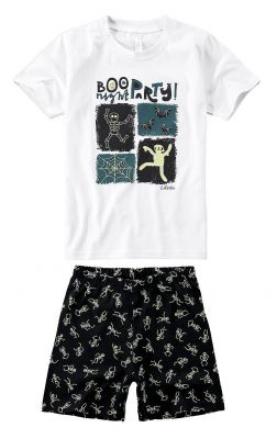 Pijama Infantil Masculino Branco Boo Brilha no Escuro Malwee