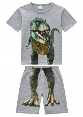 Pijama Infantil Masculino Dino Cinza Brilha no Escuro - Kyly