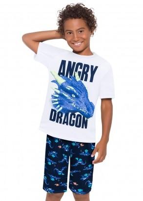 Pijama Infantil Masculino Dragão Branco - Kyly