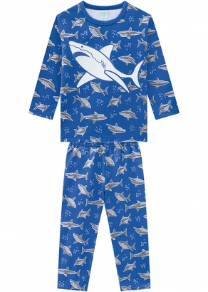 Pijama Infantil Masculino Inverno Azul Shark Kyly