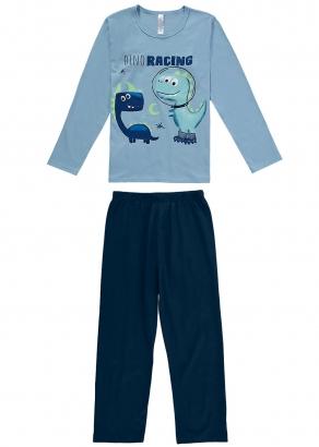 Pijama Infantil Masculino Inverno Azul Dino Racing - Malwee