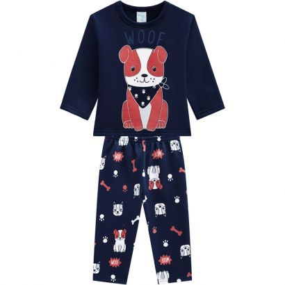 Pijama Infantil Masculino  Inverno Azul Dog Kyly