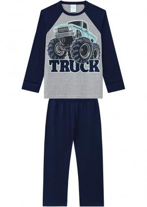 Pijama Infantil Masculino Inverno Azul Truck Kyly