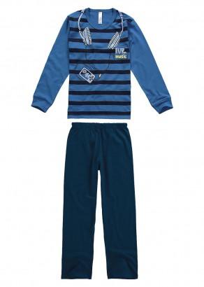 Pijama Infantil Masculino Inverno Azul Music Malwee
