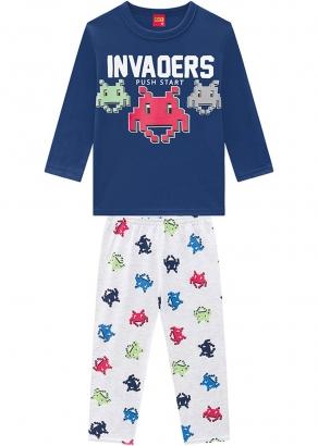 Pijama Infantil Masculino Inverno Azul Invaders Kyly