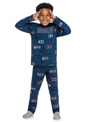 Pijama Infantil Masculino Inverno Azul Racing - Elian