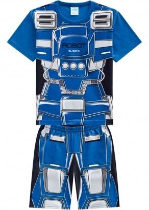 Pijama Infantil Masculino Inverno Azul Robot Kyly