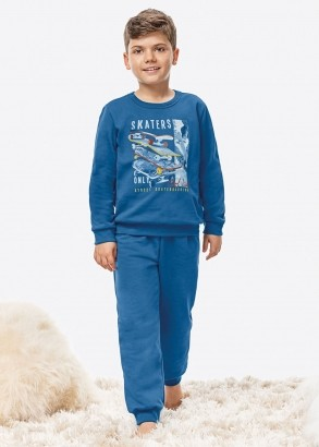 Pijama Infantil Masculino Inverno Azul Skaters Malwee