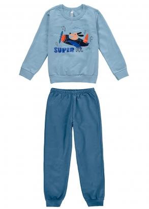 Pijama Infantil Masculino Inverno Azul Super Dog - Malwee