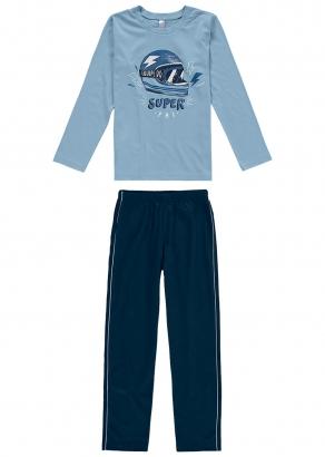 Pijama Infantil Masculino Inverno Azul Super Pai - Malwee