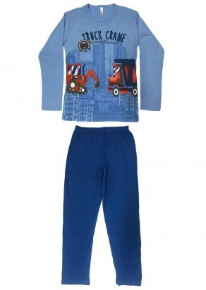 Pijama Infantil Masculino Inverno Azul Truck Malwee