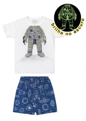 Pijama Infantil Masculino Verão Branco Astronauta Elian