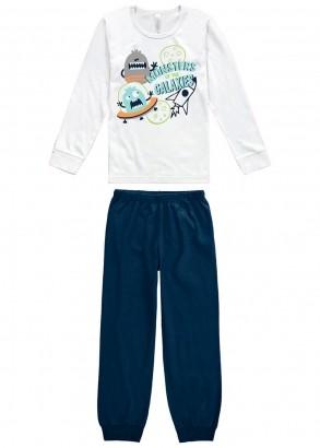 Pijama Infantil Masculino Inverno Branco Monstrinho Malwee