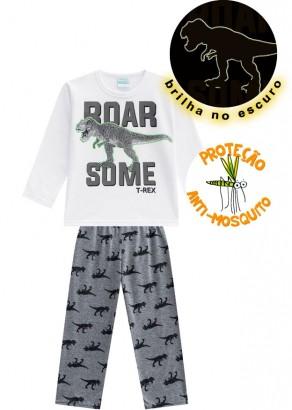 Pijama Infantil Masculino Inverno Branco Some T-Rex Kyly