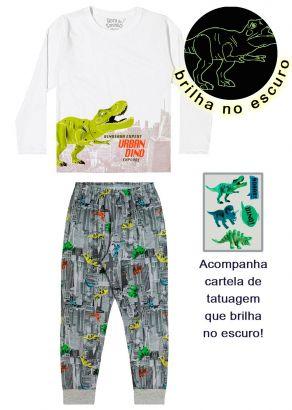 Pijama Infantil Masculino Inverno Branco Dinossauro Elian
