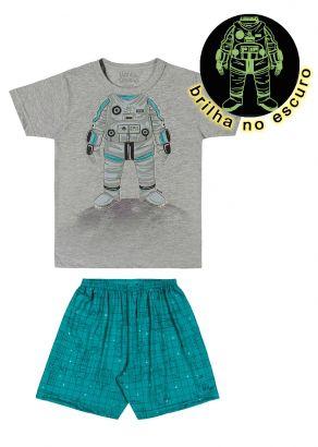 Pijama Infantil Masculino Verão Cinza Astronauta Elian