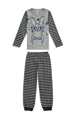 Pijama Infantil Masculino Inverno Cinza Bunny Malwee
