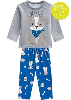 Pijama Infantil Masculino  Inverno Cinza Dog Kyly