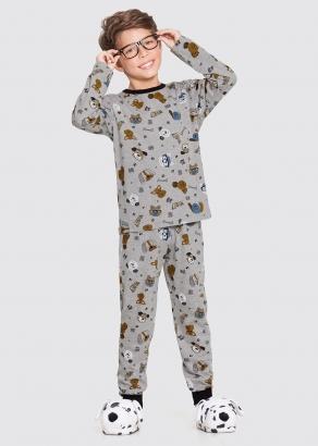 Pijama Infantil Masculino Inverno Cinza Dogs - Alakazoo