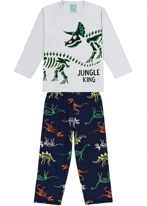 Pijama Infantil Masculino Inverno Cinza Jungle King - Kyly