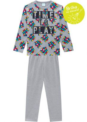 Pijama Infantil Masculino Inverno Cinza Play Kyly